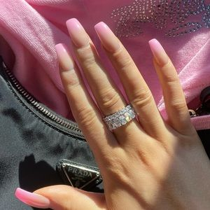 Tennis Rings Oval Band & Round Dainty Band